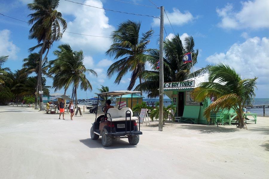 Golf Carts rule Caye Caulker, Belize