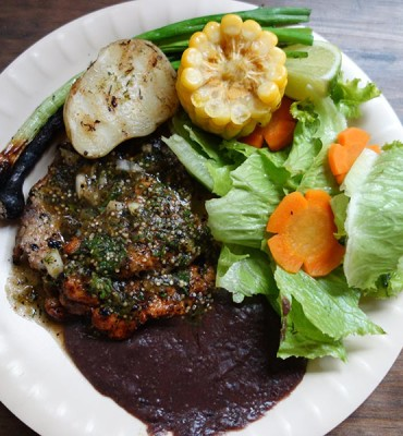 Grilled pork with bean sauce in Guatemala
