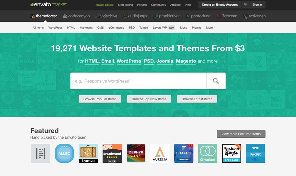 Pick a WordPress theme on Themeforest