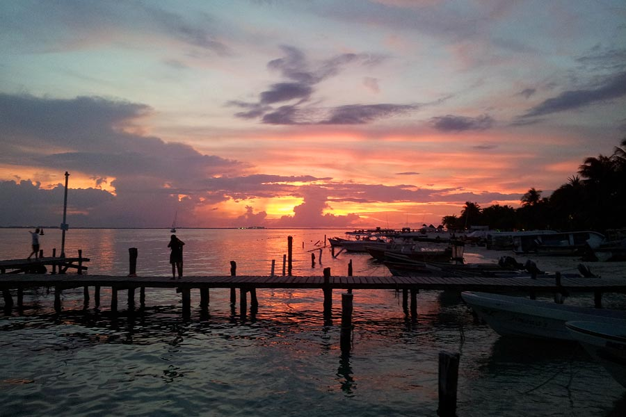 Sunset on Isla Mujeres in Mexico