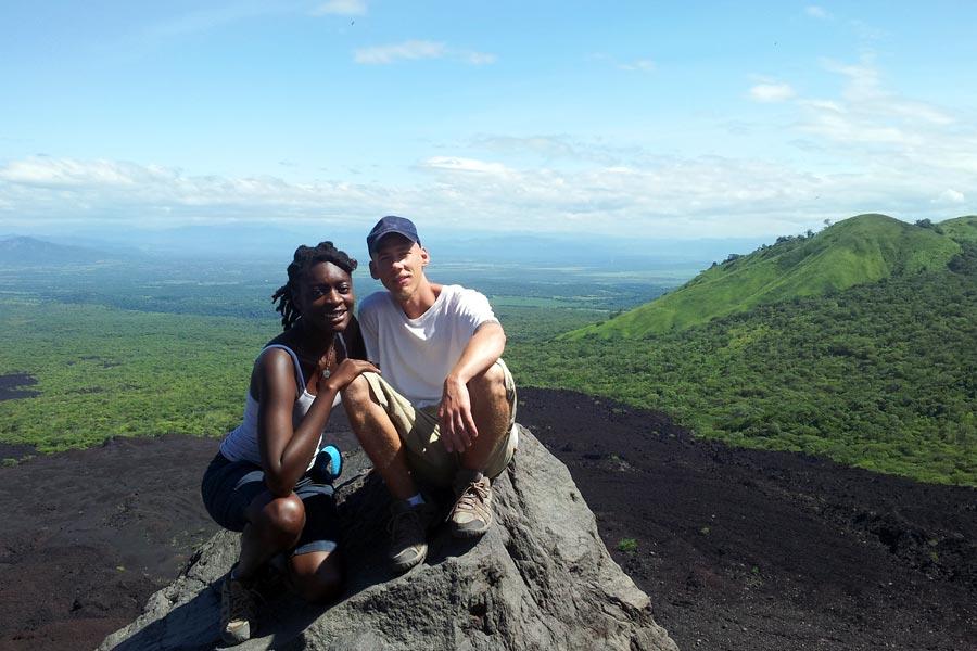 Ben & Jazzy at Volcano Cerro Negro in Nicaragua