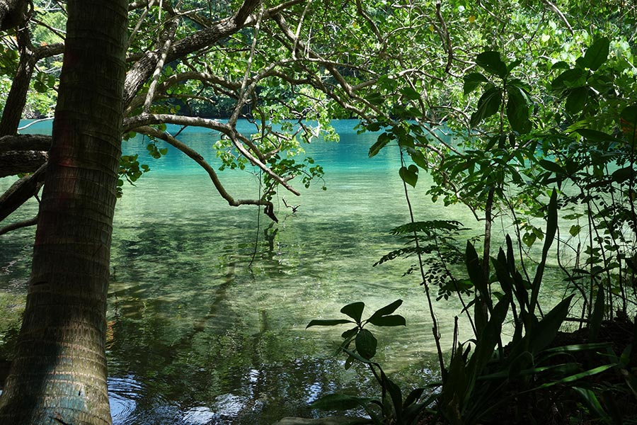 The famous Blue Lagoon in Port Antonio, Jamaica