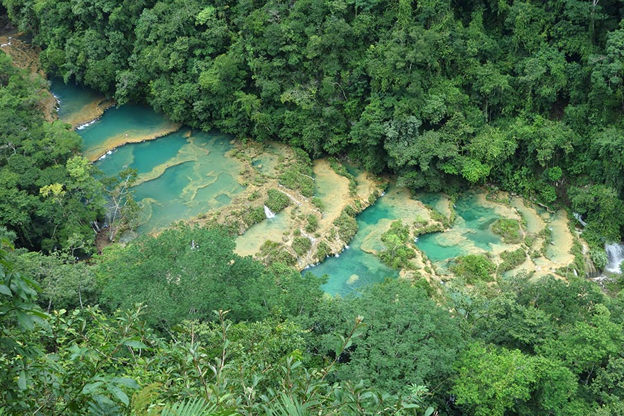 The view from El Mirador in Semuc Champey Guatemala