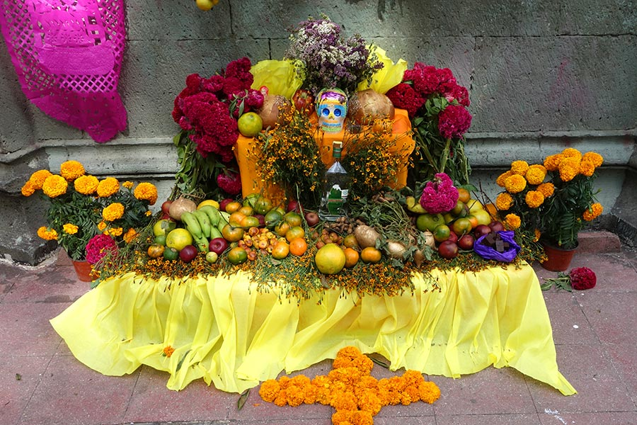 Colorful altar for the Day of the Dead celebration in Oaxaca