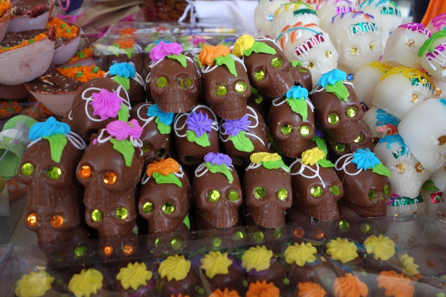 Sugar and candy skulls sold during the Day of the Dead