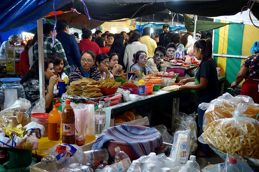 Street food stands in Oaxaca during the day of the dead