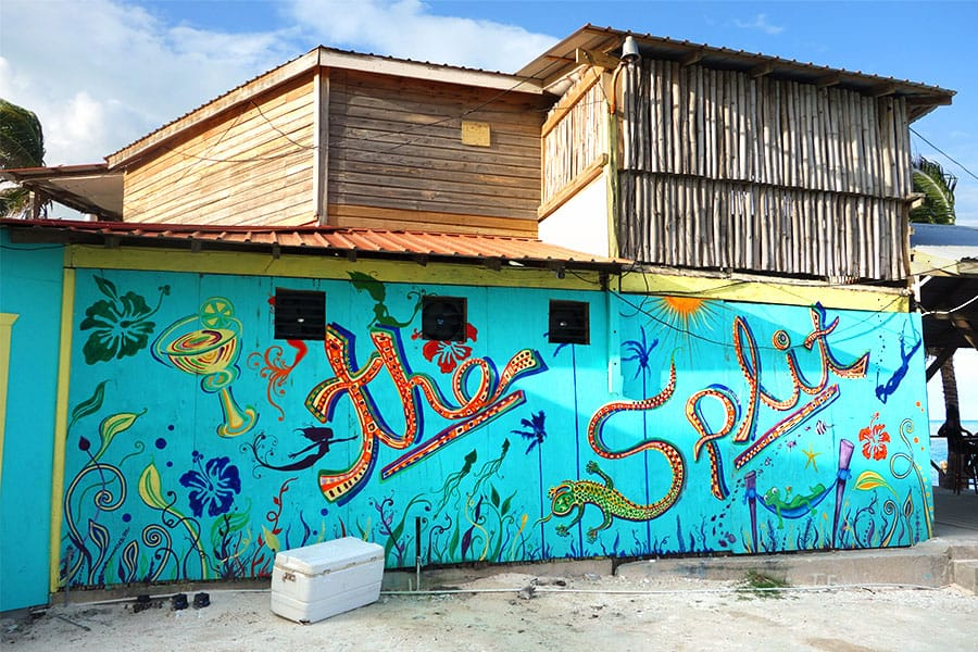the split in caye caulker, a popular local and tourist hangout spot