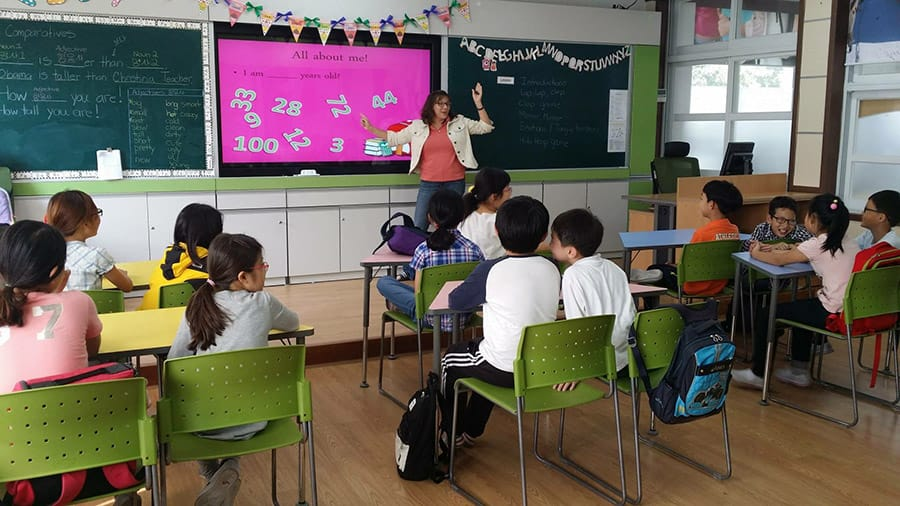Duke Stewart's Wife Teaching English in Korea