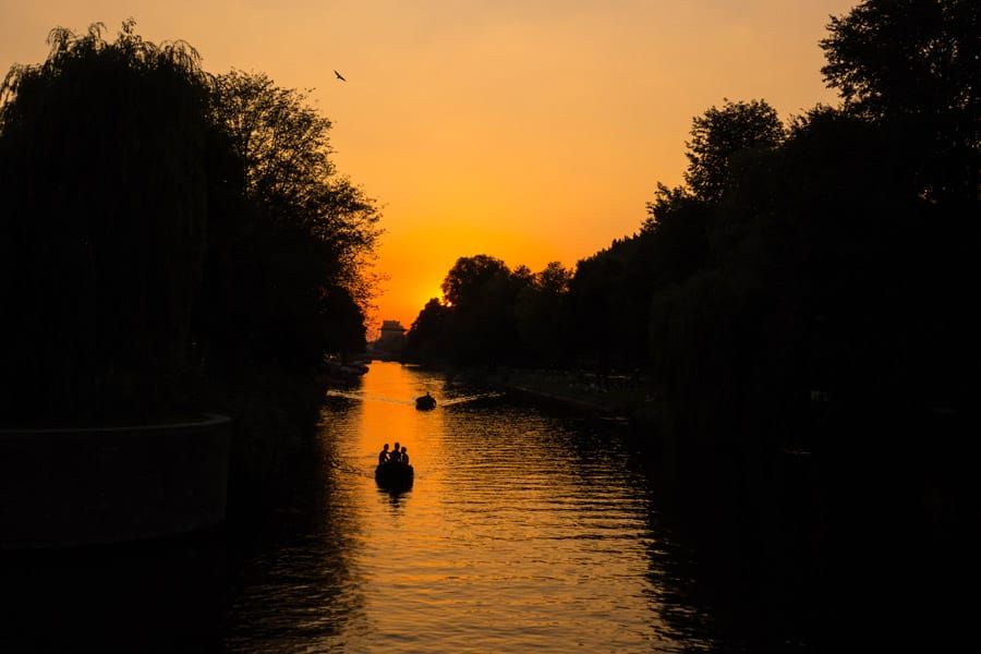 Sunset over the canals of Amsterdam