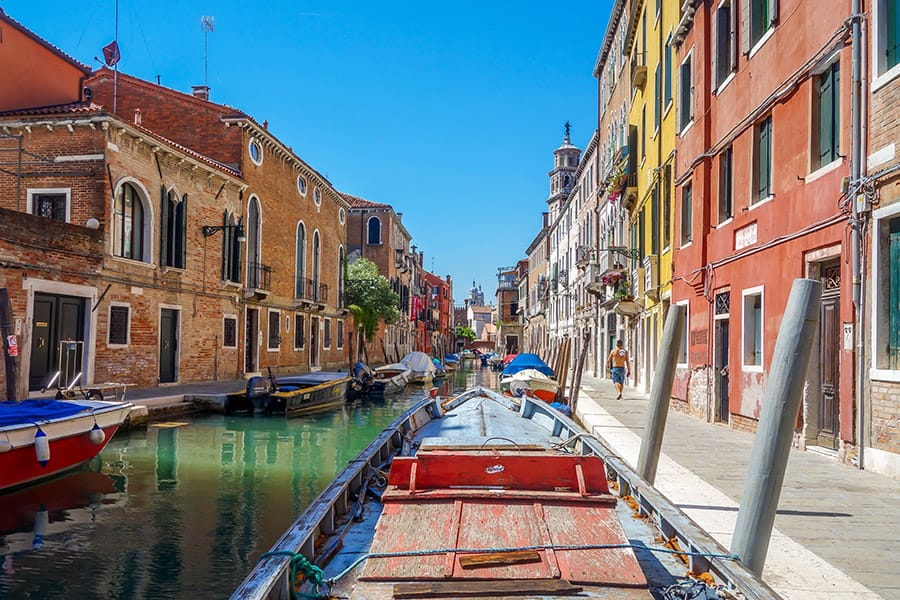 Venice as seen from a boat