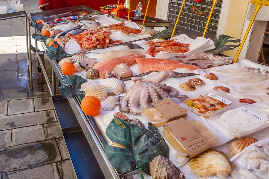 Fresh seafood market in Venice