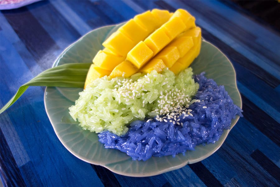 Mama Noi Thai Cookery School: Green and Purple Mango Sticky Rice (Khao Neow Ma Muang)