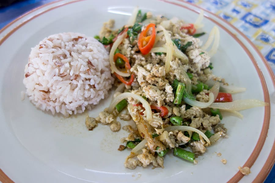 Mama Noi Thai Cookery School: Stir Fried CHicken with Hote Basil (Pad Kra Proaw)