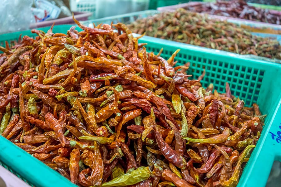 Mama Noi Thai Cookery School: Dried Chilli at Local Market in Chiang Mai