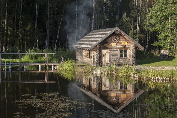 smoke sauna in summer in estonia