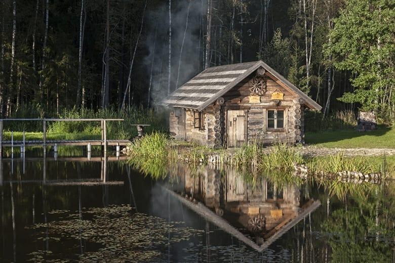 smoke sauna in summer in estonia