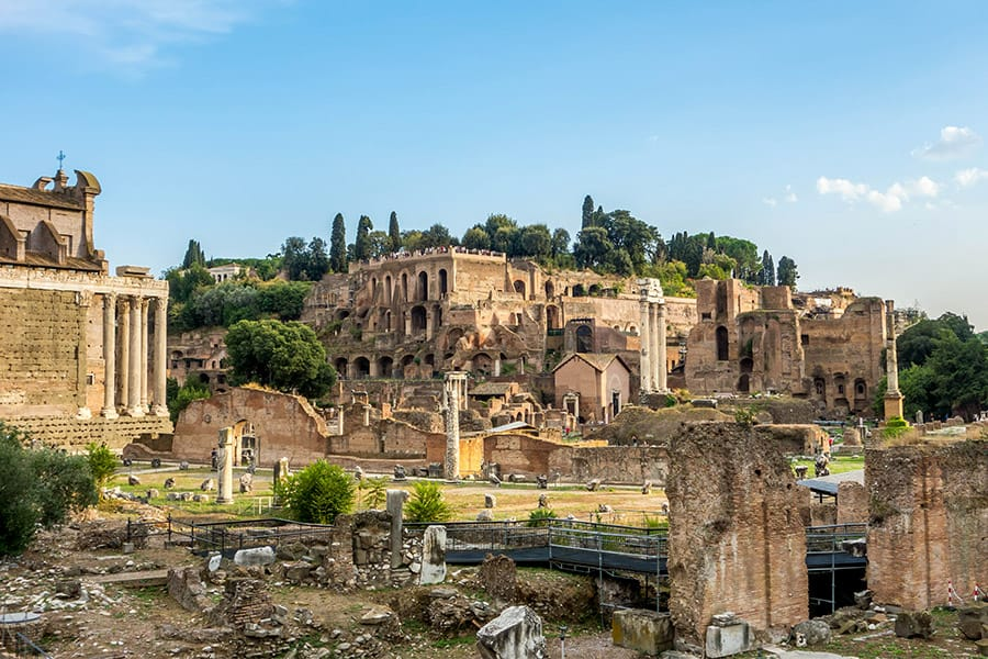 Ruins at the Roman Forum in Rome Italy