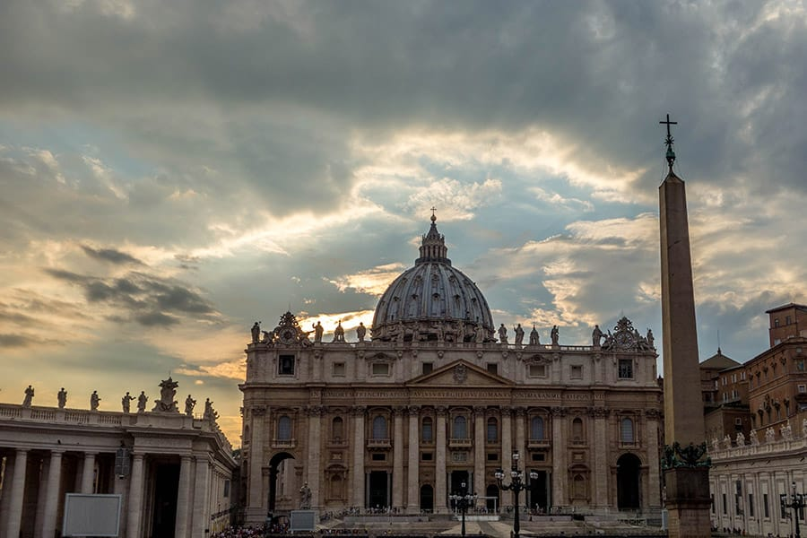 St Peters Basilica around sunset