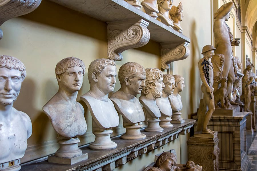 Statues at the Vatican Museum in Rome Italy