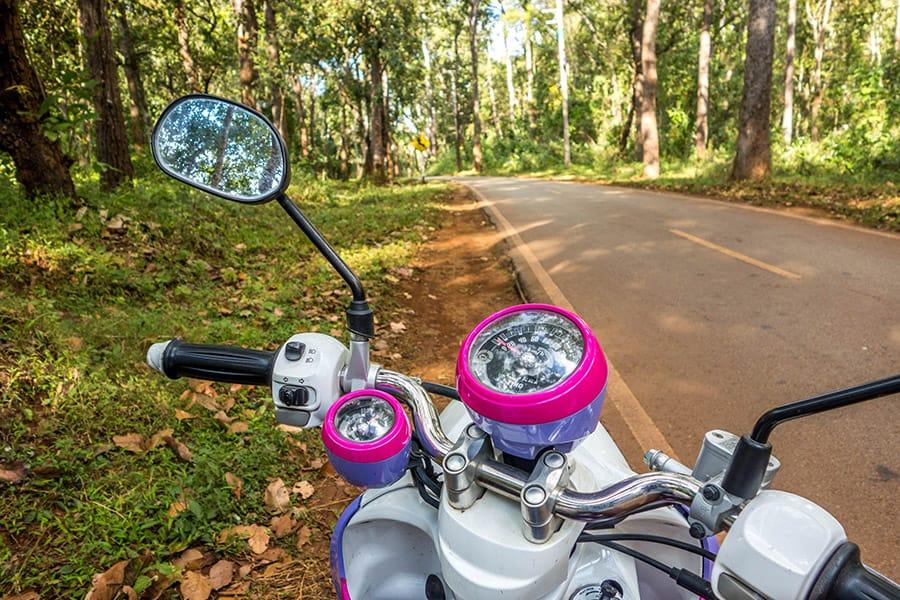 Cruising around Pai on a scooter