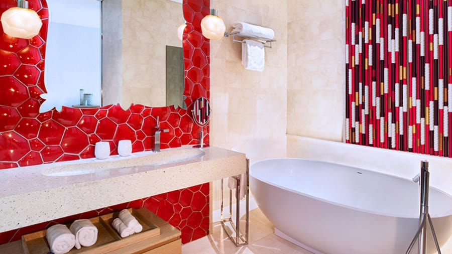 Bathroom in the Away Room at W Singapore. Image Credit: © W Singapore
