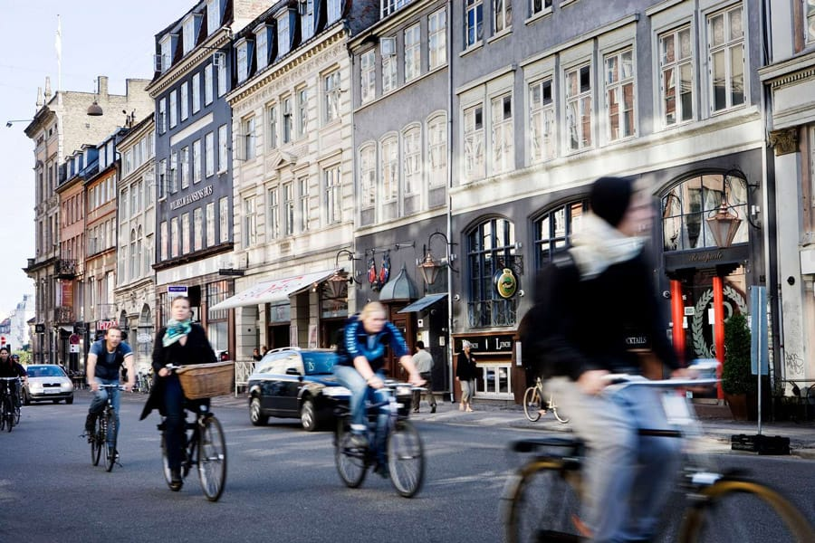 Riding a bicycle in Copenhagen