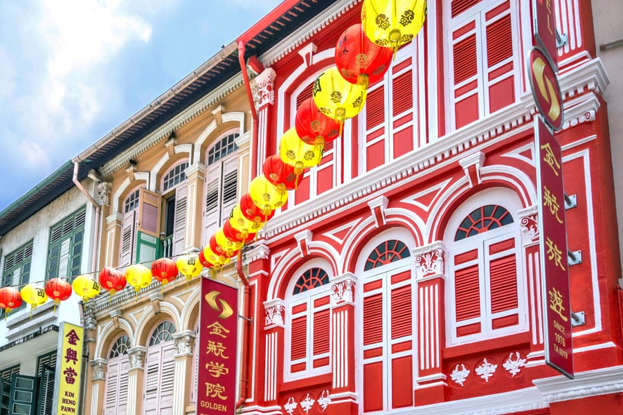Beautiful colonial houses in Chinatown, Singapore
