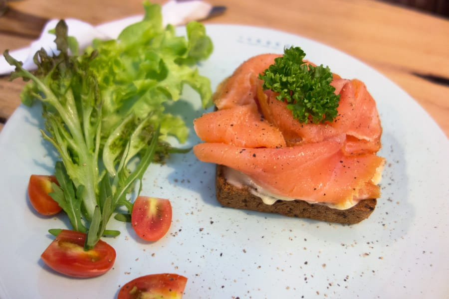 Gluten Free Smoked Salmon Sandwich from Theera in Bangkok Thailand