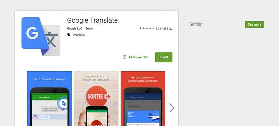 Screenshot of Google Translate app in Play Store