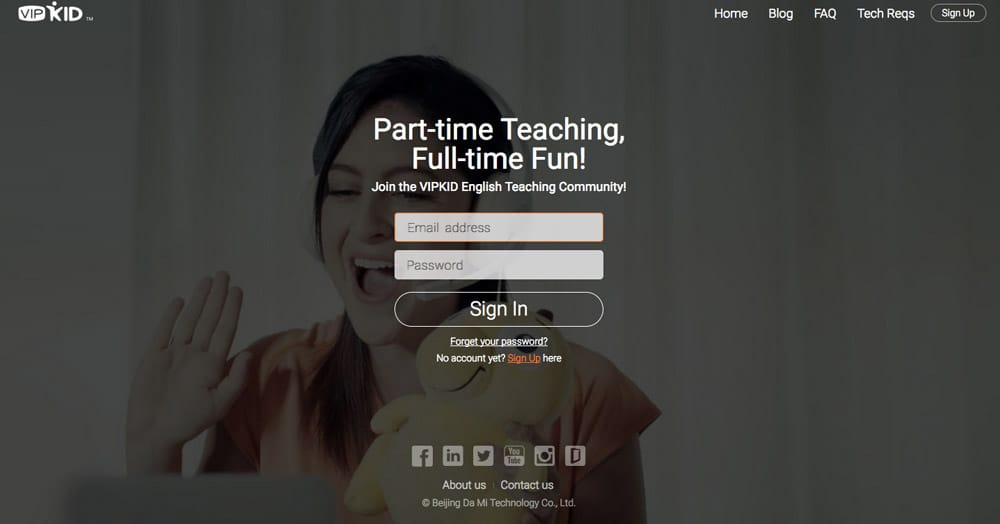 VIPKID Homepage Screenshot