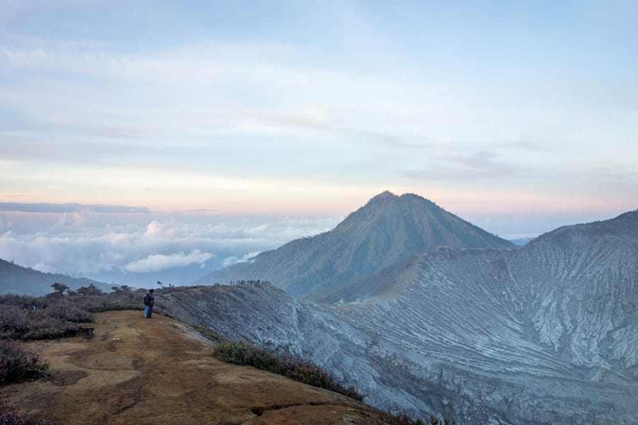 Beautiful sunrise on top of Mount Ijen