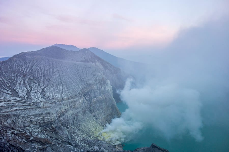 Sulfur gas coming from Mount Ijen
