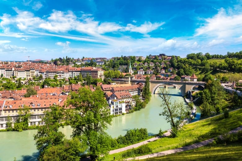 Panoramic view of Bern in a beautiful summer day, Switzerland
