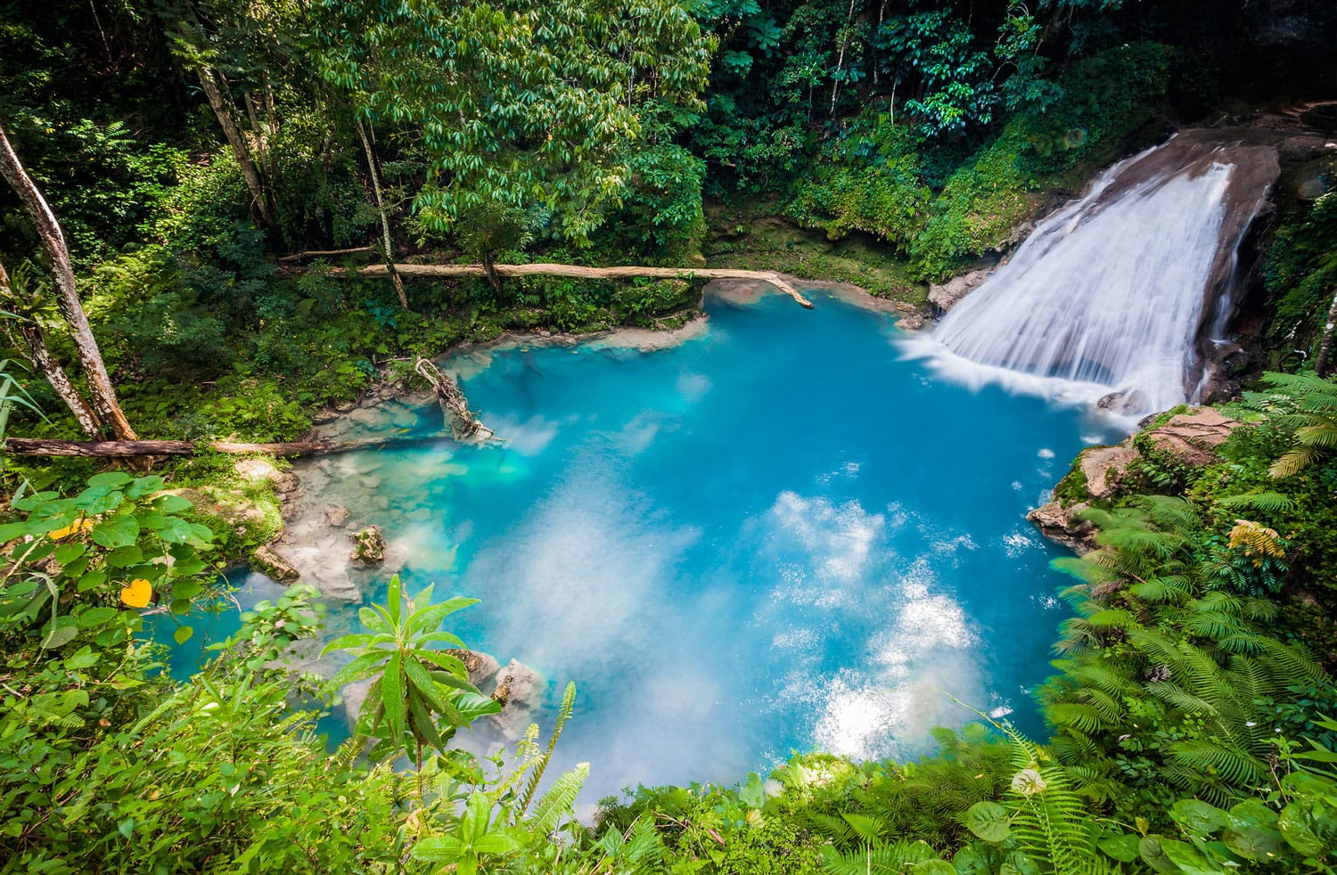 Blue hole waterfall from above, Jamaica