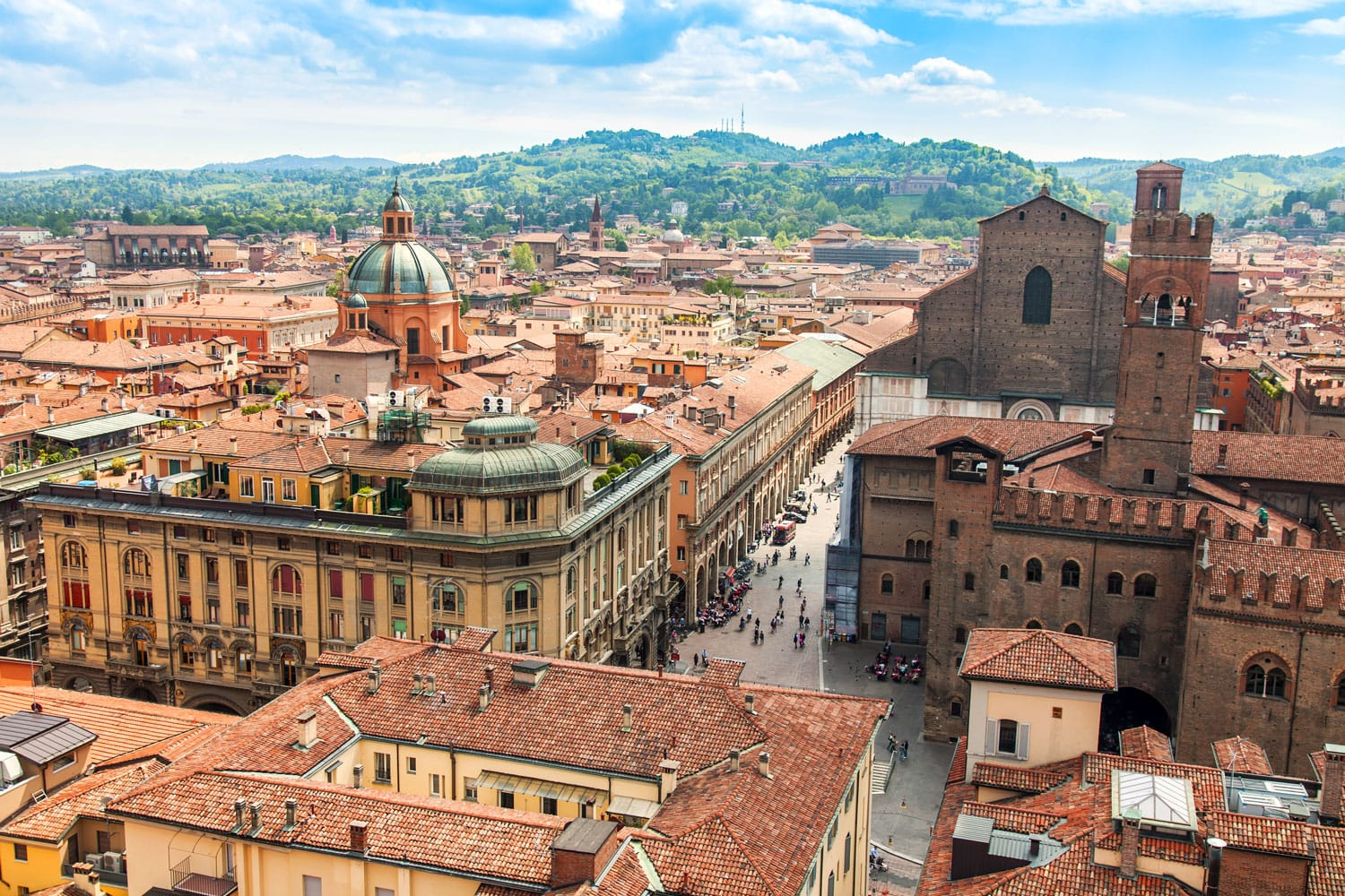 Top view of the old city in Bologna, Italy
