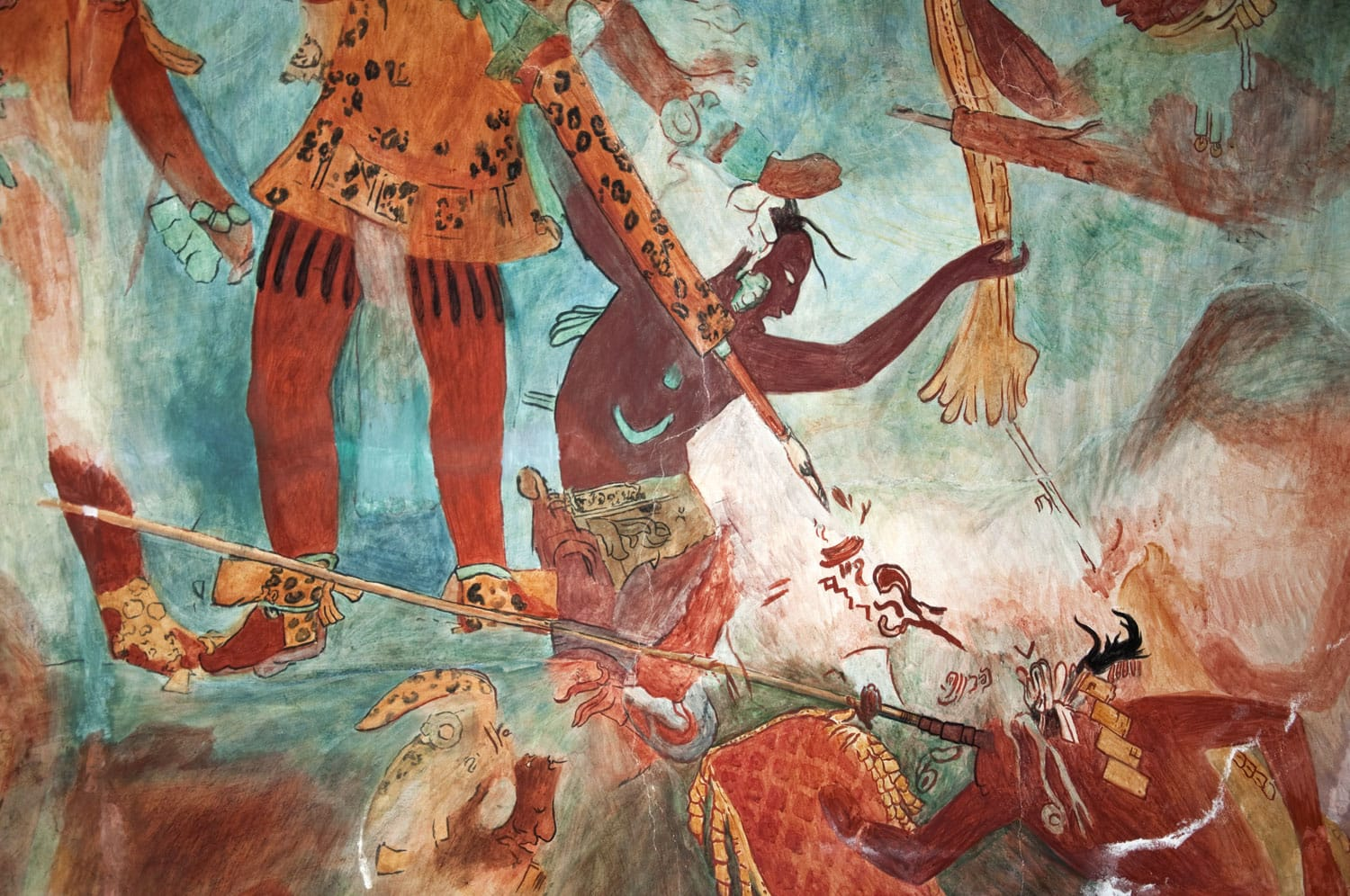 "Mayan Mural Painting from Bonampak 03 Mural Replica of the original fresco found in ""The Temple of the Murals"" in an ancient Maya archeological site called Bonampak in Chiapas, Mexico"