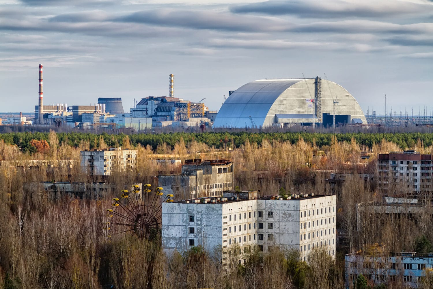 Vew from roof of 16-storied apartment house in Pripyat town, Chernobyl Nuclear Power Plant Zone of Alienation, Ukraine