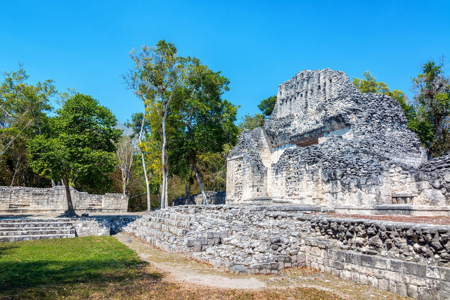 Beautiful Mayan temple in the ruins of Chicanna, Mexico