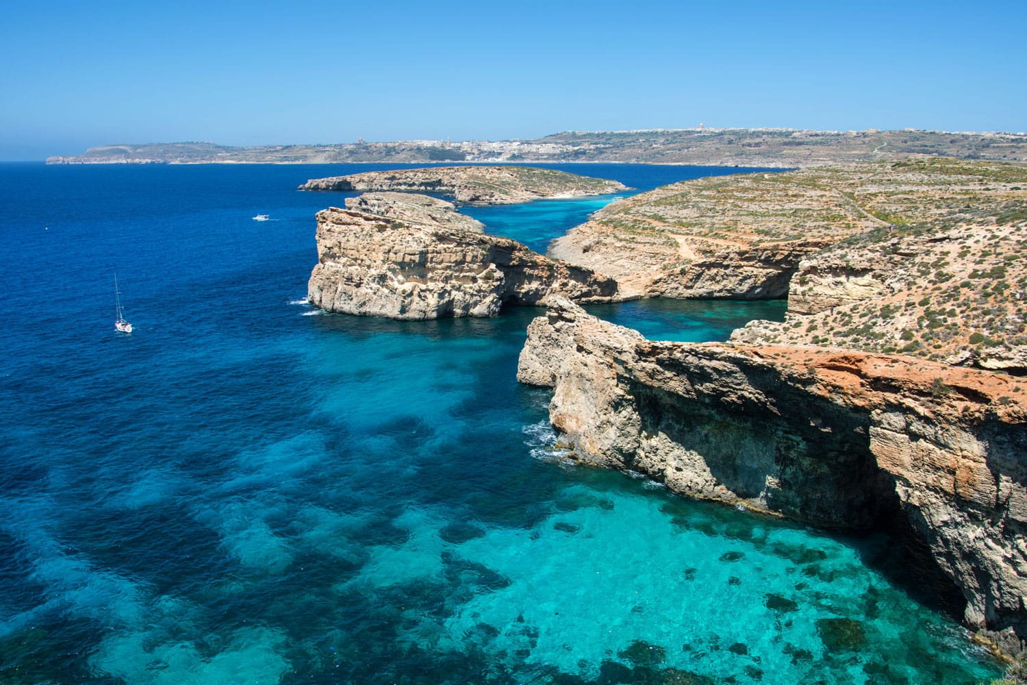 Comino island of the Maltese archipelago between the islands of Malta and Gozo in the Mediterranean Sea
