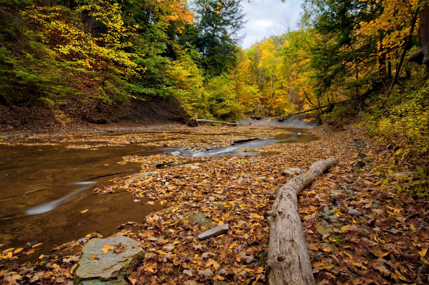 A scenic view along Brandywine Creek in Cuyahoga Valley National Park Ohio.