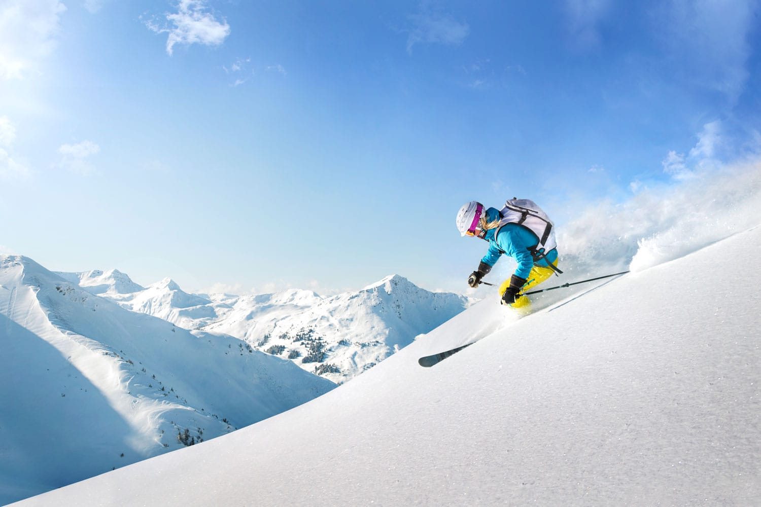 Female freeride skier in Austria