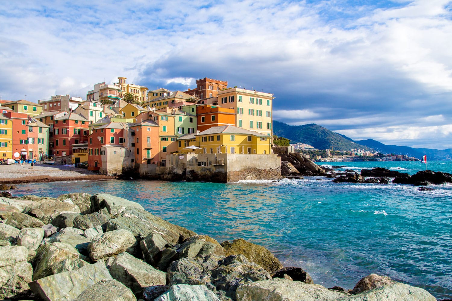 Boccadasse, a district of Genoa in Italy, looks like a small village by the sea