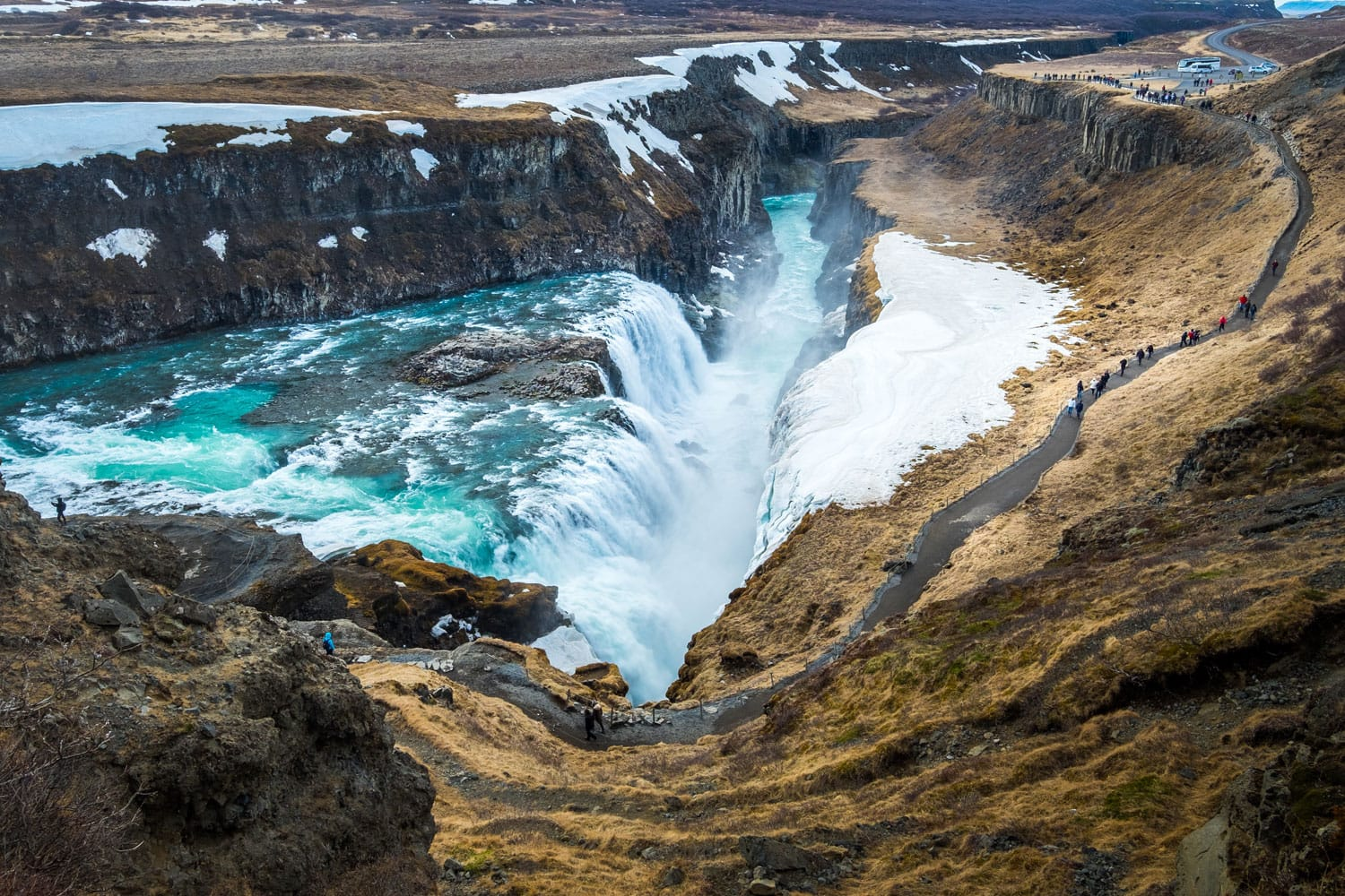 Gullfoss is a waterfall located in southwest Iceland