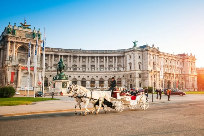 Traditional old-fashioned fiacre in Hofburg, Vienna, Austria