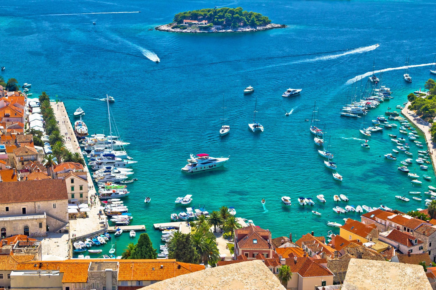 Hvar bay and yacht yachting aerial panoramic view, Dalmatia, Croatia