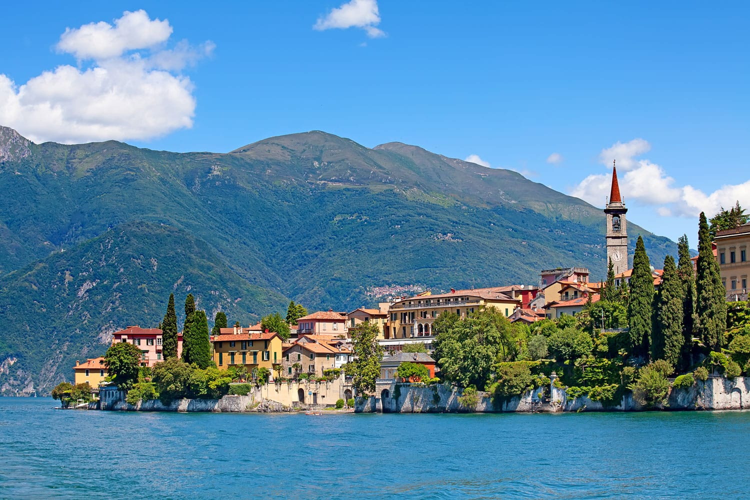 Panoramic view of Varenna town on Lake Como, Italy