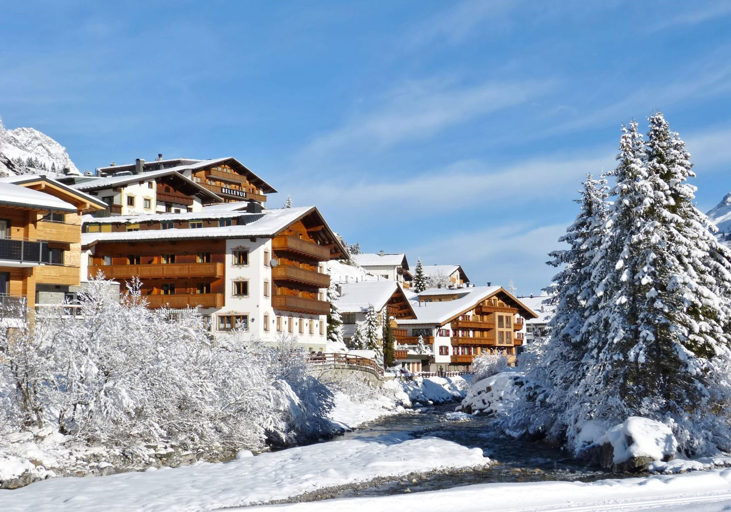 Winter in the famous village of Lech am Arlberg in the Austrian alps