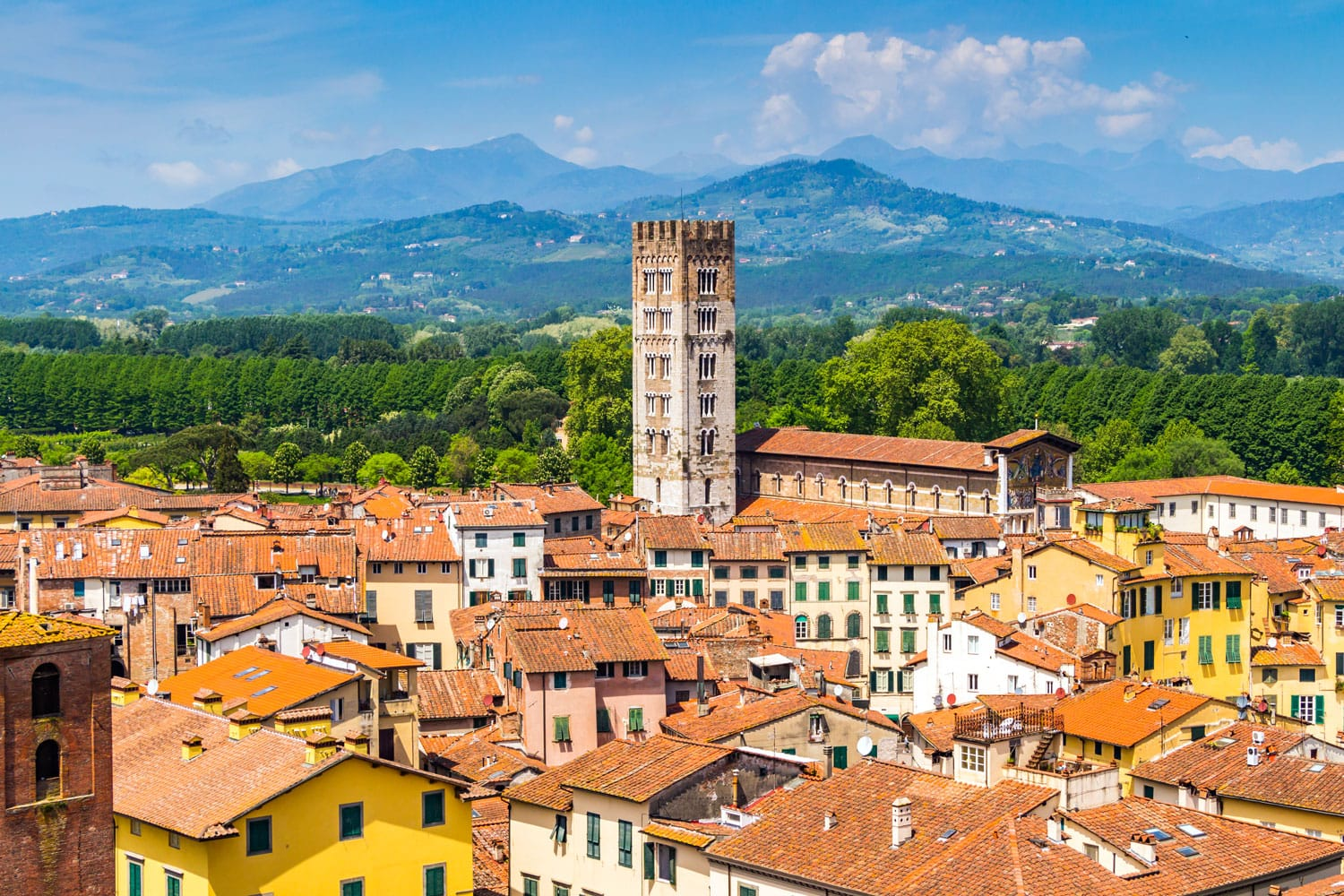 View over Italian town Lucca with typical terracotta roofs