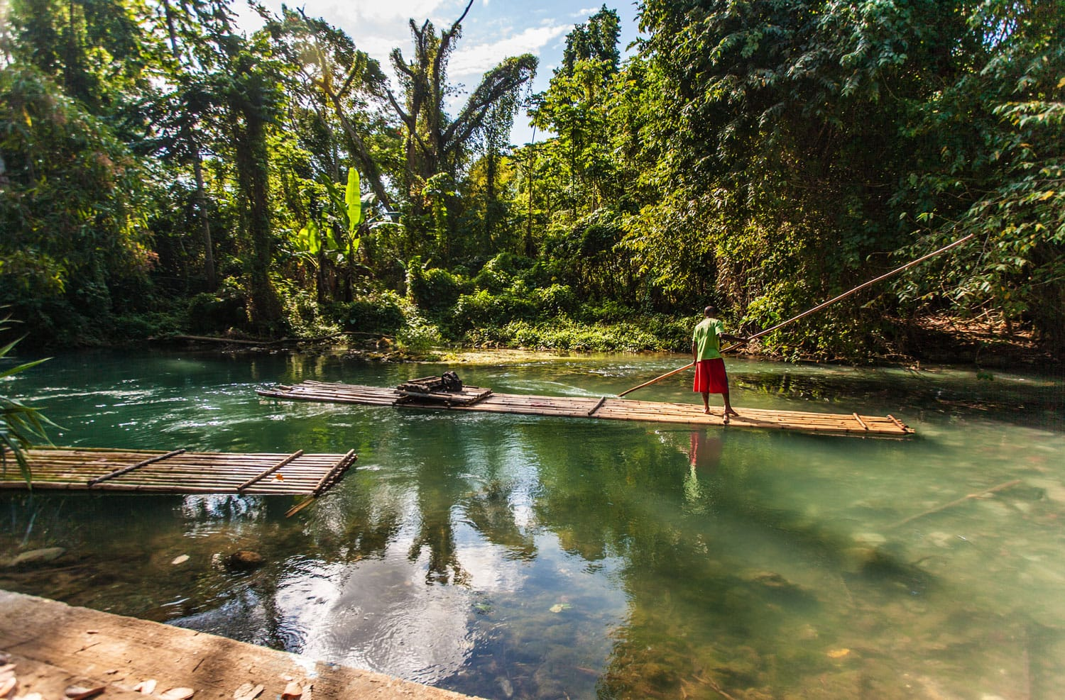 Bamboo Raft and Captain on Martha Brae River in Jamaica
