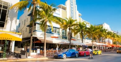 View along the famous vacation and tourist location on Ocean Drive in the Art Deco district of South Beach, Miami